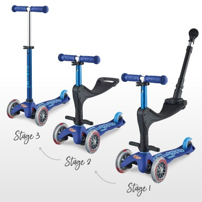 Mini Micro Scooter 3 in 1 Deluxe Push Handle Blue