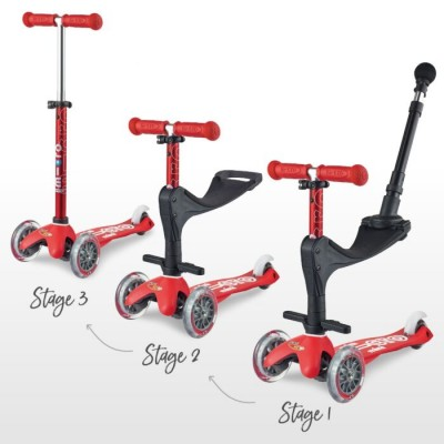 Mini Micro Scooter 3 in 1 Deluxe Push Handle Red
